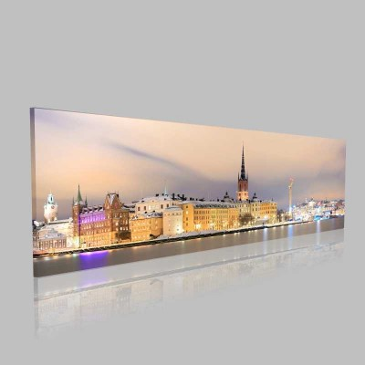 Panorama Stockholm Cityscape Kanvas Tablo