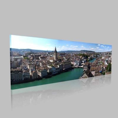 Zürih Panoraması Nehir Kanvas Tablo