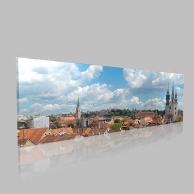 Zagreb Panoramik Şehir Görüntüsü Kanvas Tablo