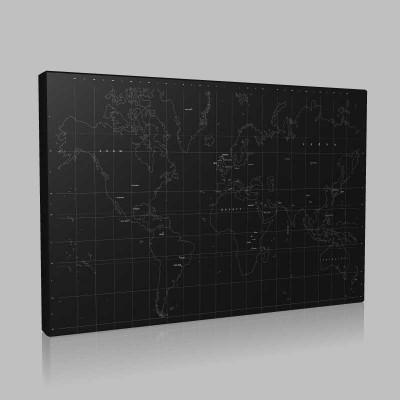 Çizim Dünya Haritası Kanvas Tablo