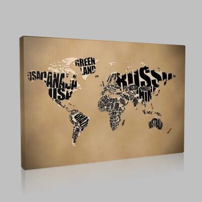 Ülke İsimli Dünya Haritası Kanvas Tablo