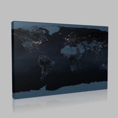 Dünya Haritası Gece Kanvas Tablo