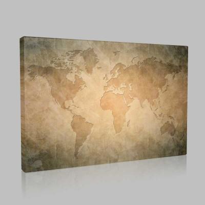 Dünya Haritası Vintage Kanvas Tablo