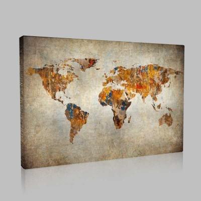 Eski Görünümlü Dünya Haritası Kanvas Tablo