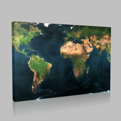 Fiziki Dünya Haritası Kanvas Tablo