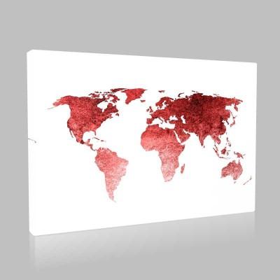 Kırmızı Dünya Haritası Kanvas Tablo