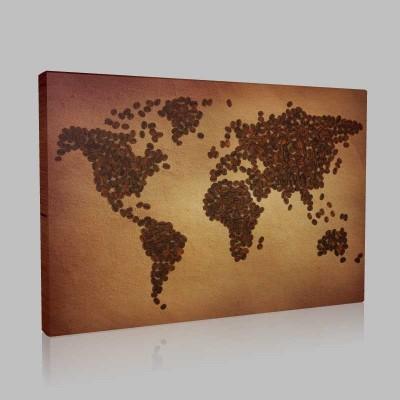 Kahve Çekirdeği İle Dünya Haitası Kanvas Tablo