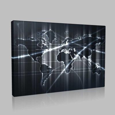 Metalik Dünya Haritası Kanvas Tablo