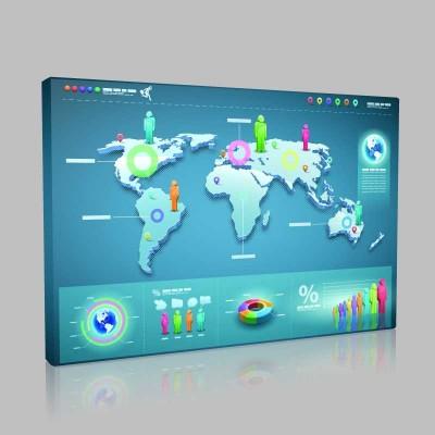 Oranlı Dünya Haritası Kanvas Tablo