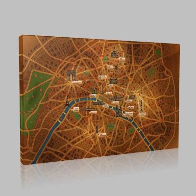 Paris Şehir Haritası Kanvas Tablo