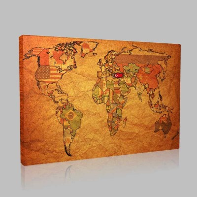 Türk Bayraklı Dünya Siyasi Haritası Kanvas Tablo