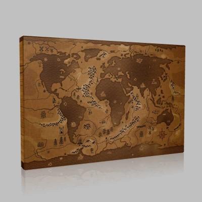 Ticari Dünya Haritası Kanvas Tablo