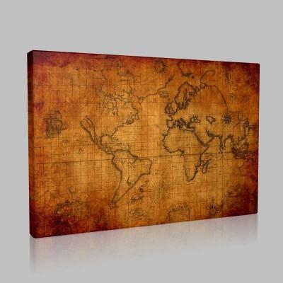 Vingate Eski Düya Haritası Kanvas Tablo