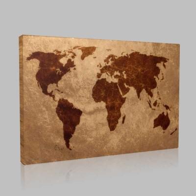 Vintage Dünya Haritası Kanvas Tablo