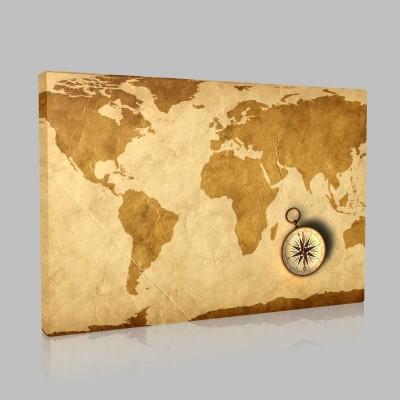 Vintage Pusulalı Dünya Haritası Kanvas Tablo