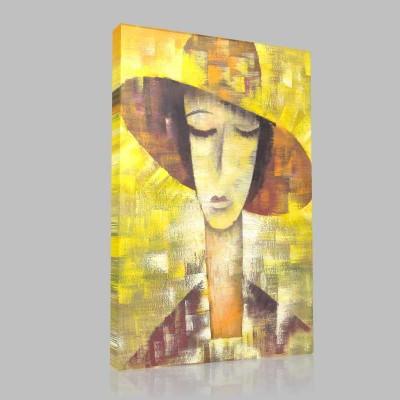 Fötr Şapkalı Kız Kanvas Tablo