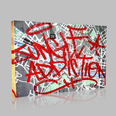 Grafitti Map Kanvas Tablo