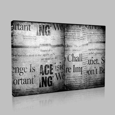 Kitap Şeklinde Gazete Kolajı Kanvas Tablo