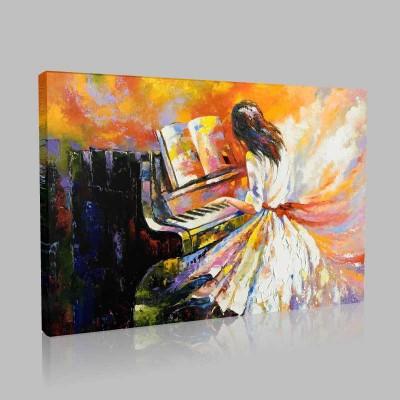 Piyano Çalan Kız Kanvas Tablo