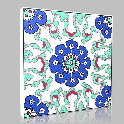 Motif Mavi Çiçekler Kanvas Tablo