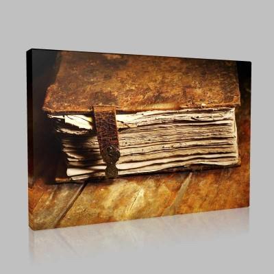Deri Kaplı Kitap Kanvas Tablo