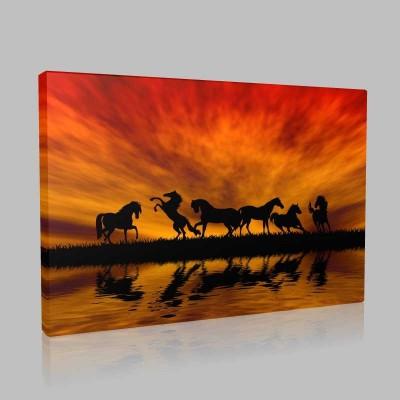 Günbatımı Ve Atlar Kanvas Tablo