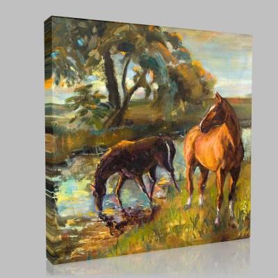Ormanda Su İçen Atlar Kanvas Tablo