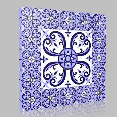 Mexican White Blue Tiles Floor Pattern Kanvas Tablo