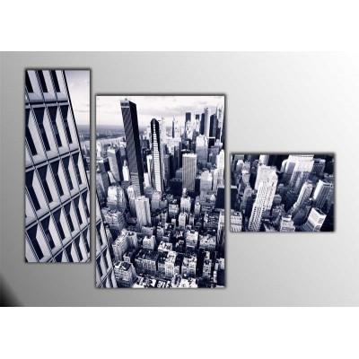 Black White City Parçalı Tablo 120X85Cm