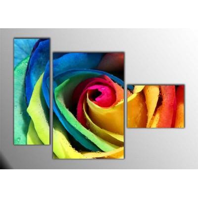 Rengarenk Gül Parçalı Tablo 120X85Cm
