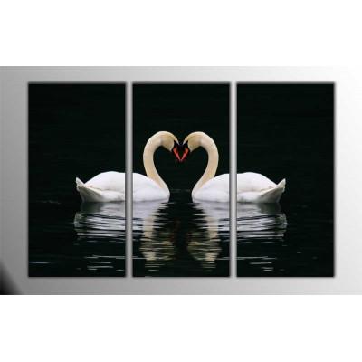 Aşık Kuğular Parçalı Tablo 120X80Cm