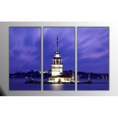 Akşam Kız Kulesi  Parçalı Tablo 120X80Cm