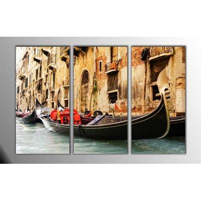 La Gondola Ferma İn Bacino Orseolo Parçalı Tablo 120X80Cm