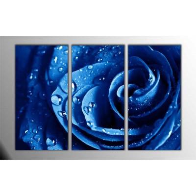 Mavi Gül Parçalı Tablo 120X80Cm