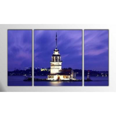 Akşam Kız Kulesi Parçalı Tablo 120X70Cm