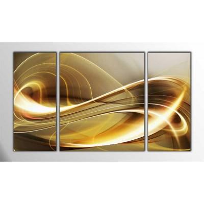 Altın Dalgalanmalar Parçalı Tablo 120X70Cm