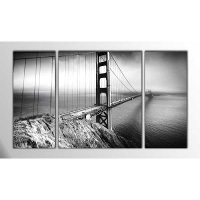 Golden Gate Siyah Beyaz Amerika Parçalı Tablo 120X70Cm