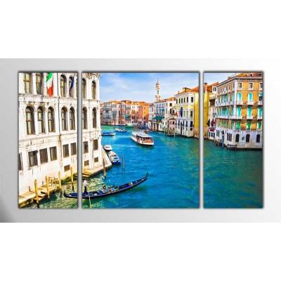 Grand Kanal Venedik İtalya Parçalı Tablo 120X70Cm