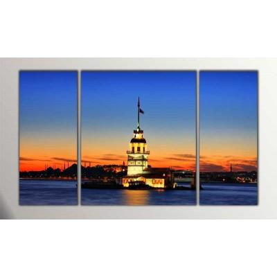 Kız Kulesi  Parçalı Tablo 120X70Cm