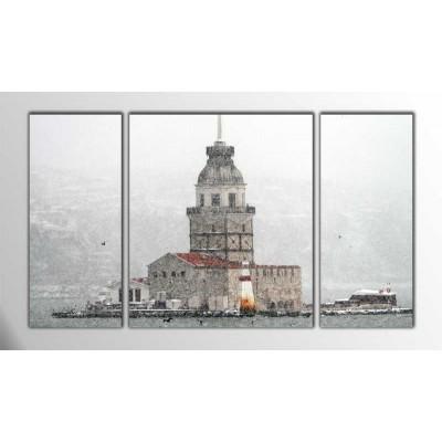 Kar Altında Kız Kulesi Parçalı Tablo 120X70Cm