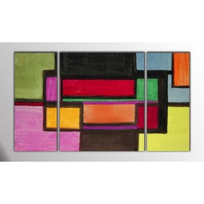 Yatay Düzlem Abstract Parçalı Tablo 120X70Cm