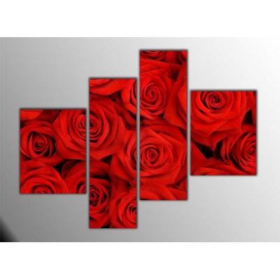 Kırmızı Güller Parçalı Tablo 120X95Cm