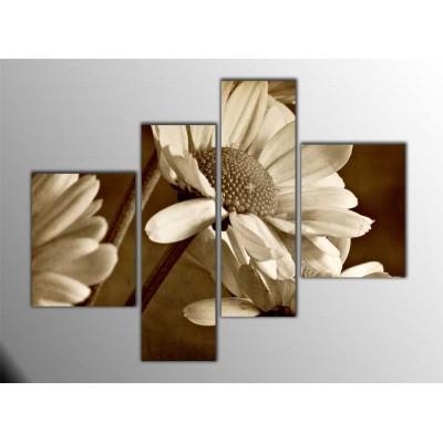 Siyah Beyaz Papatyalar Parçalı Tablo 120X95Cm