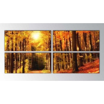 Autumn Forest  Reddish Parçalı Tablo 160X70Cm