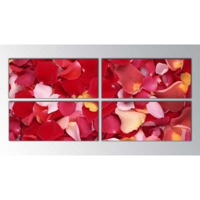 Kırmızılı Gül Yaprakları Parçalı Tablo 160X70Cm