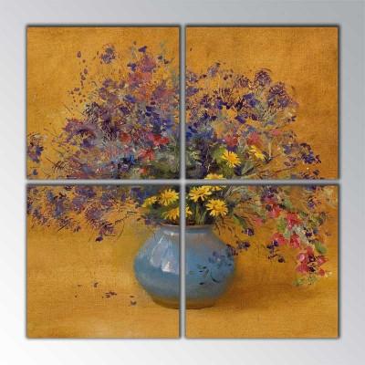 Kır Çiçekleri Vazoda Parçalı Tablo 100 X100Cm
