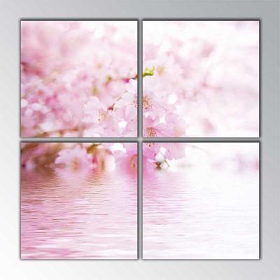 Pembe Sakuralar Parçalı Tablo 100 X100Cm