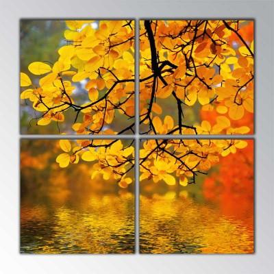 Sonbahar Dalı Parçalı Tablo 100 X100Cm