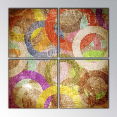 Vintage Circles Parçalı Tablo 100 X100Cm