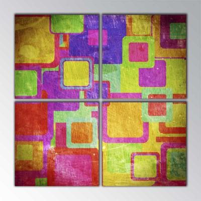Vintage Colors Square Parçalı Tablo 100 X100Cm